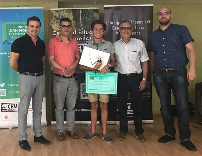 Gonzalo Mena de l'INS Pere Ribot guanya el Premi Joan Monjo a la recerca jove 2017