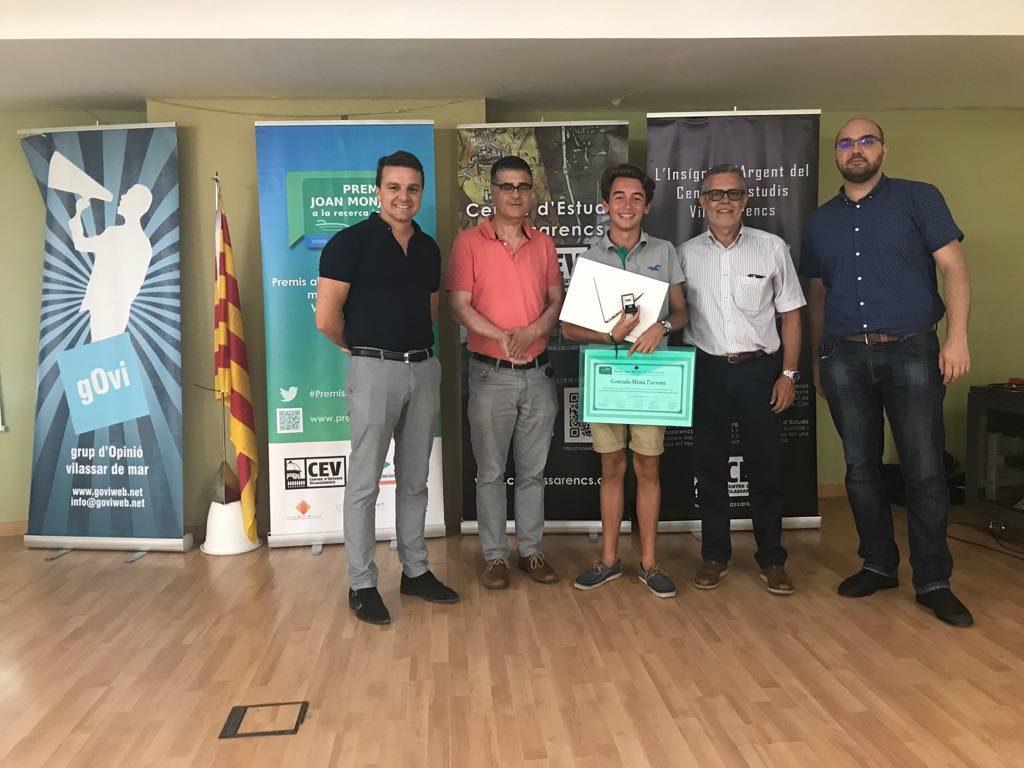 Gonzalo Mena guanyador dels Premis Joan Monjo a la recerca jove 2016